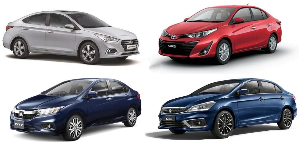 Toyota Yaris, Honda City, Hyundai Verna and Maruti Suzuki Ciaz