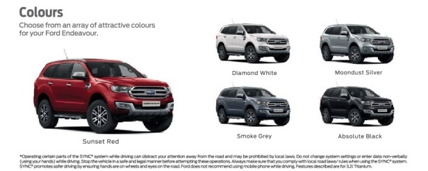 Ford Endeavour 2019 colors