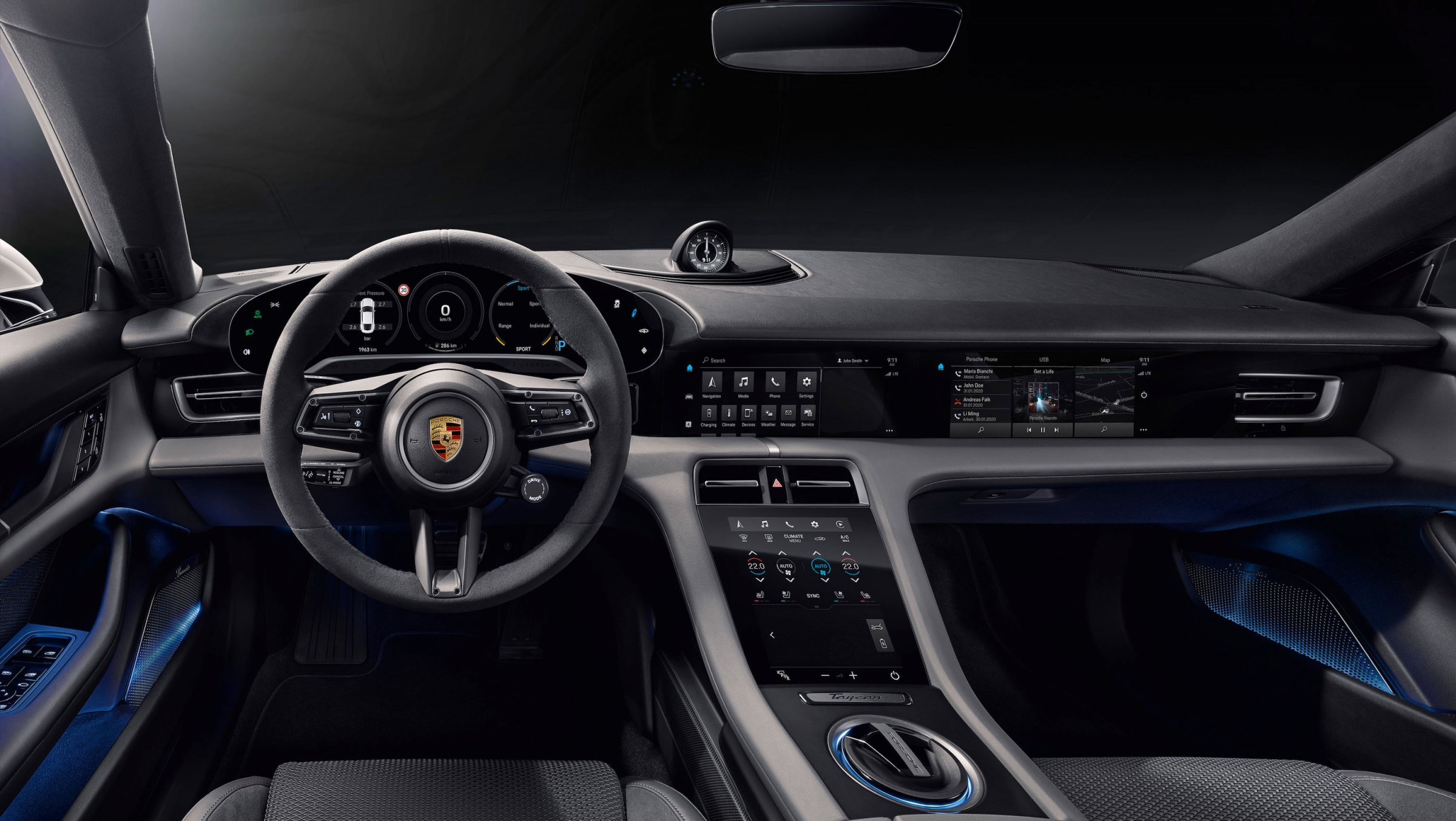 The beautiful All-electric Porsche Taycan interiors revealed today by the company.